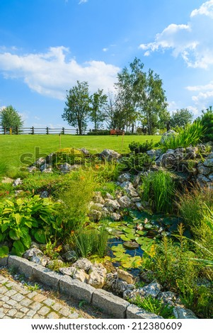 Plants growing around a water pond in green garden on sunny summer day, Poland - stock photo