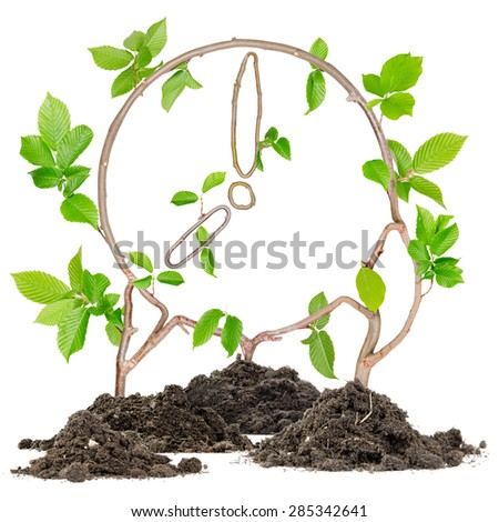 Plants growing from soil heaps forming clock - stock photo