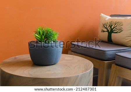 plants in modern pot on wooden table with orange painted wall - stock photo