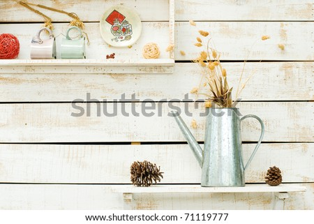 Plants on white rough wooden wall as Decoration - stock photo
