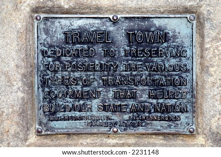 Plaque at Travel Town museum, Los Angeles - stock photo