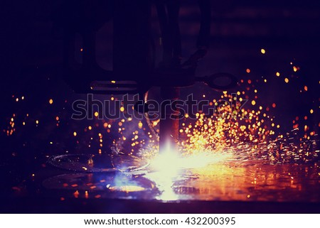 Plasma cutting of metal - stock photo