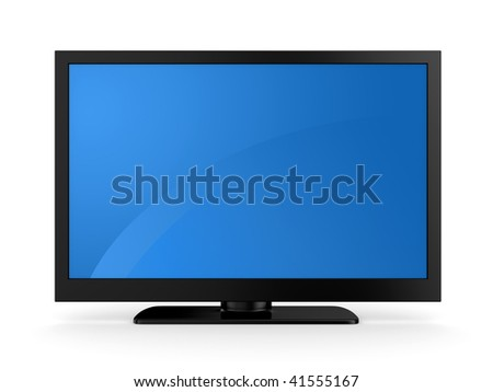 Plasma LCD HDTV Display on a white background - stock photo