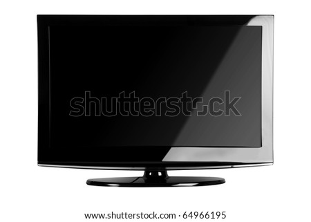 Plasma / LCD TV Front Shot Isolate on White Background - stock photo