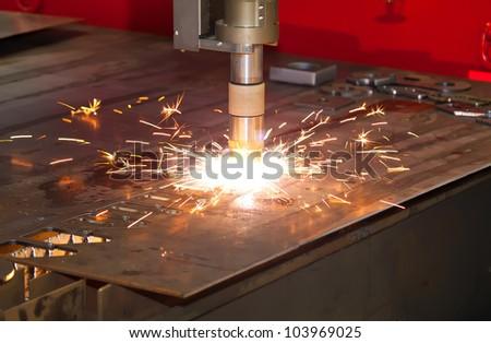 Plasma metal cutting precision industrial cnc machine - stock photo