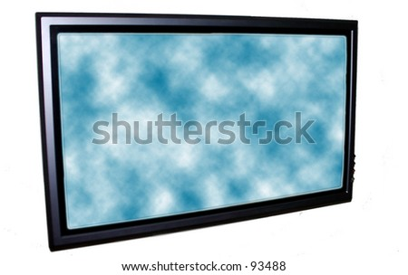 Plasma Tv and clouds - stock photo