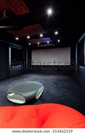 Plasma TV in cinema at modern home - stock photo