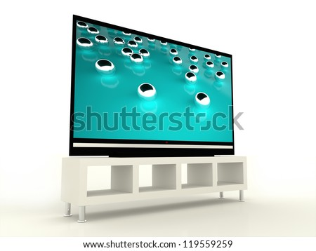 Plasma TV with beautiful tirkis screen - stock photo