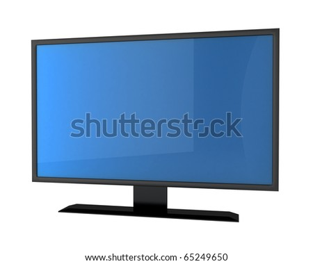 plasma tv with empty screen for your text - stock photo
