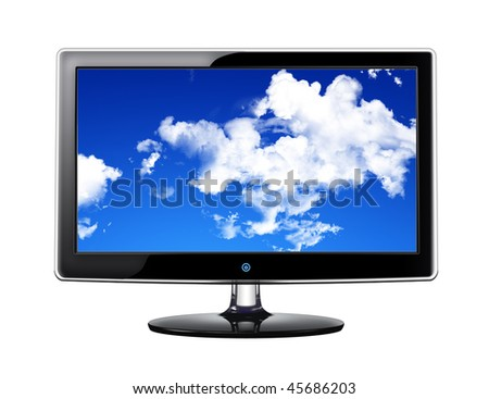 Plasma TV with skies on white background - stock photo