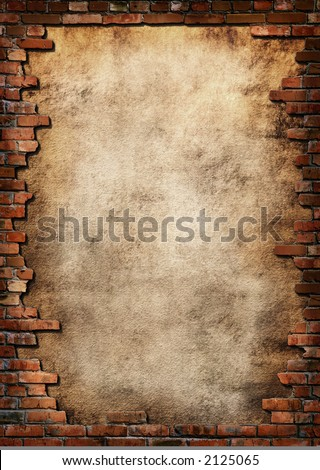 Plaster background with brick wall framing - stock photo