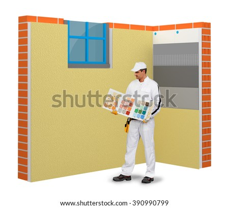 Plaster color selection - stock photo