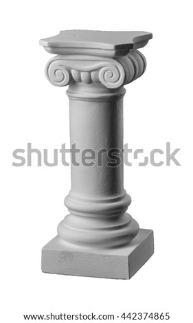 plaster columns, pilasters on a white background, gypsum - stock photo