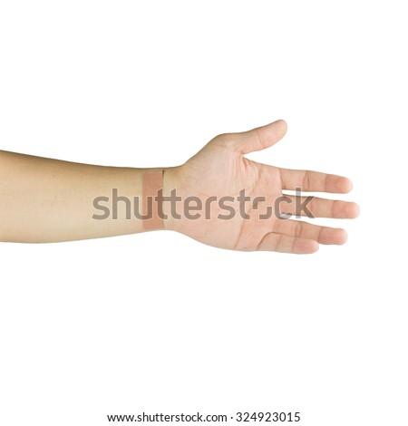 plaster on wrist isolated on white - stock photo
