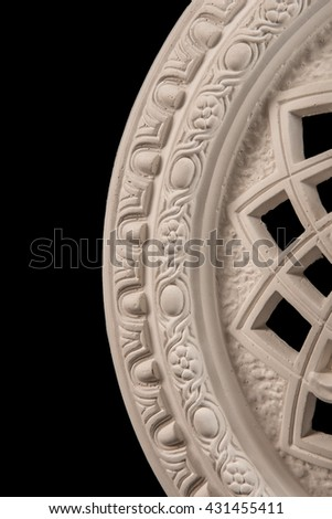 plaster round outlet on a black background