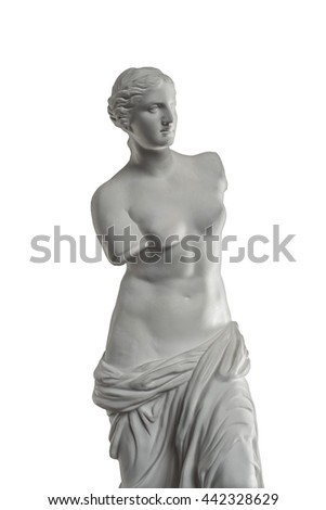 plaster statue of Venus isolated on white background - stock photo