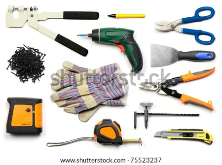 Plasterboard tools set with punch lock crimper, marker pen, tin snip cutter, screws, screw gun, plaster spreader, protective gloves, laser level, tape measure and circle cutter on white background - stock photo