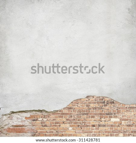plastered brick wall background texture, damaged plaster wall - stock photo