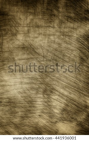 Plastered wall in sepia with heavy scratches. - stock photo