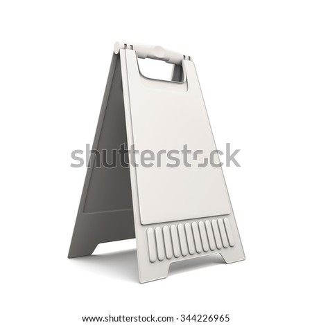 Plastic advertising stand isolated on white background. 3d illustration.