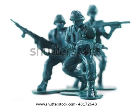 plastic army men - stock photo