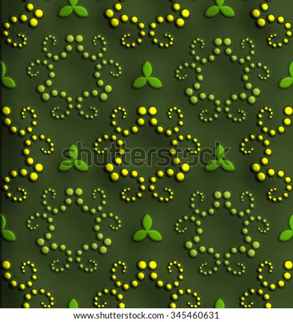 Plastic background tiles with embossed ornaments