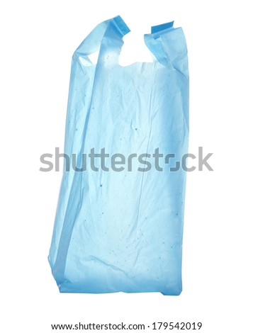 Plastic bag empty. Plastic bags are the cause of major environmental concerns with clipping path isolated on white background - stock photo