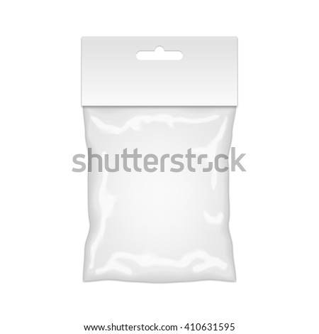 Plastic Bag Mockup Ready For Your Design. Blank Packaging Template With Hang Slot. Isolated On White Background. - stock photo