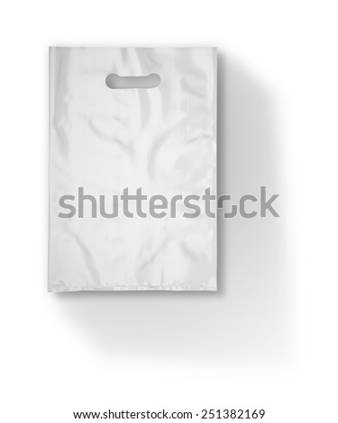 Plastic bag on white with long shadow (with clipping path) - stock photo