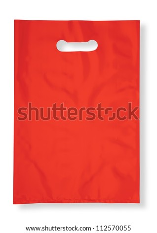 Plastic bag on white with shadow (with clipping path) - stock photo
