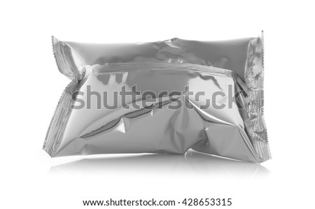 plastic bag snack packaging isolated on white background - stock photo