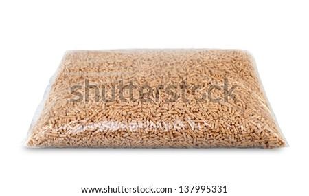 Plastic bags of wood pellets - stock photo