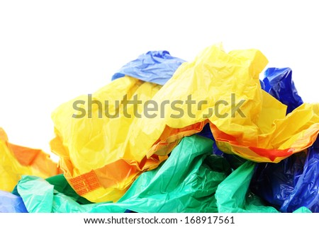 Plastic bags on a white background - stock photo
