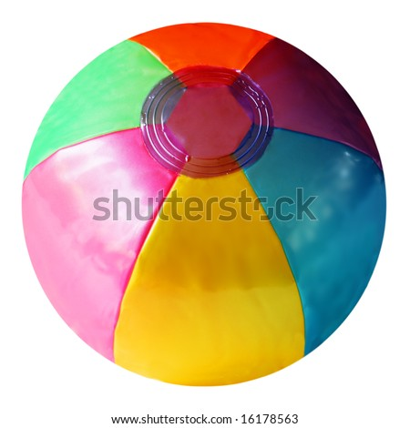 Plastic beach ball isolated on white background - stock photo