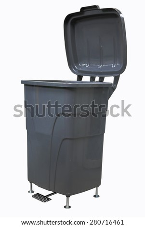 Plastic bin on white background, Recycling bins ,trashcan - stock photo