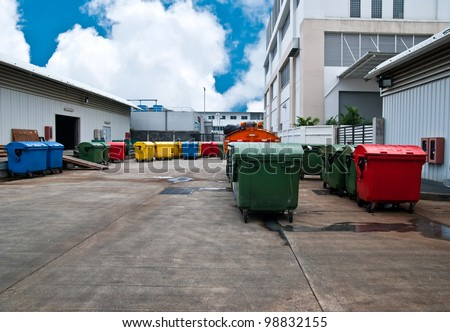 Plastic bins in recycle center - stock photo