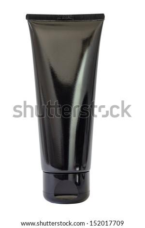 Plastic black bottle isolated on white background - stock photo