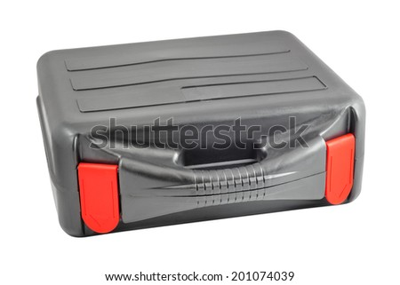 Plastic black case with red tabs. Isolated on white background with clipping path. - stock photo
