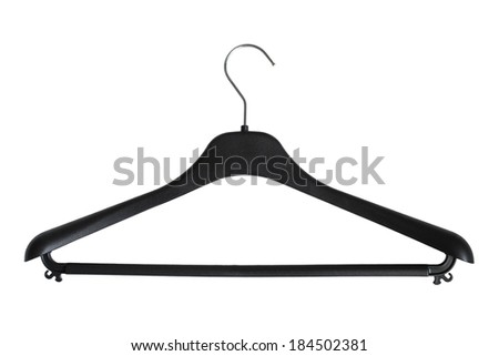 Plastic black coat hanger on white background - stock photo