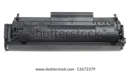 Plastic black printer cartridge isolated with clipping path over white - stock photo