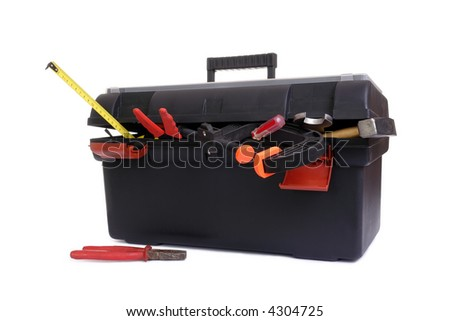 Plastic black toolbox with assorted tool set over white background