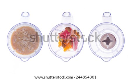 Plastic blender. Empty, with smoothie ingredients, with mashed collection - stock photo