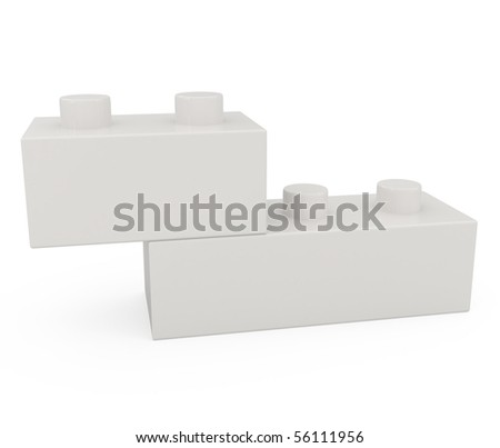 Plastic Block isolated on white - 3d illustration - stock photo