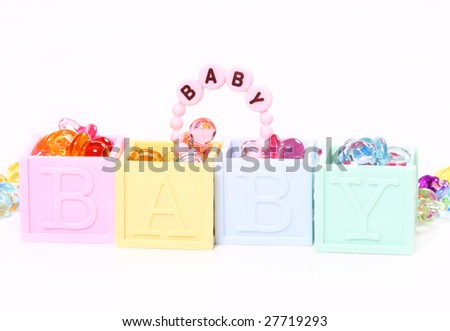 Plastic blocks with the word baby on them - stock photo