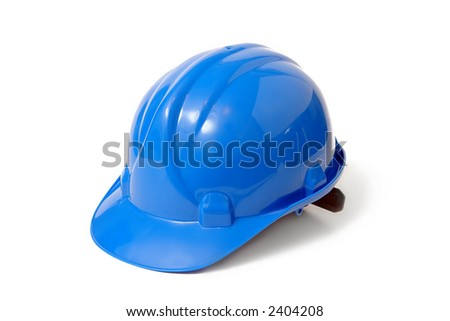 Plastic blue safety helmet over white background - stock photo