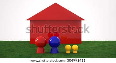 Plastic board game figures in front of a house