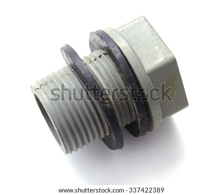 Plastic bolts. A toy for children isolated on white background with clipping path  - stock photo