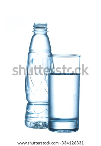 plastic bottle and glass water isolated on white background - stock photo
