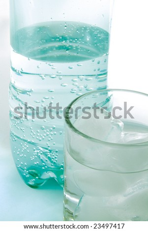 Plastic bottle and glass with pure water.
