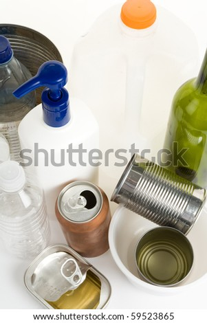 Plastic Bottle, Can, Glass, concept of recycling - stock photo
